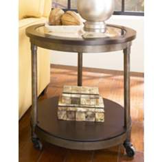 Structure Round Distressed Brown and Glass End Table