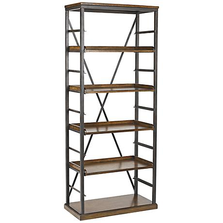 Hammary Studio Home 5-Shelf Gray Oak Bookcase