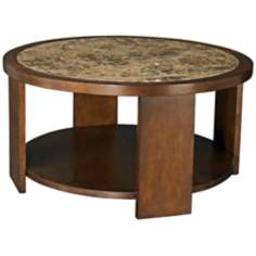 Marika Round Marble and Chestnut Cocktail Table