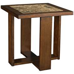 Marika Square Marble and Chestnut End Table