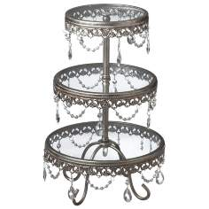Jeweled Antique Silver 3-Tier Stand