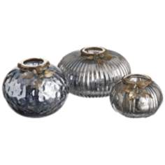 Set of 3 Gunmetal Gray Mercury Glass Tealight Holders