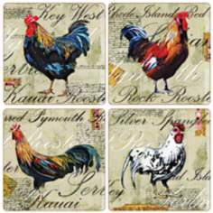 Hindostone Set of 4 Roosters Coasters