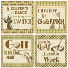 Hindostone Set of 4 Sandstone Golf Quotes Coasters