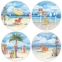 Hindostone Set of 4 Beach Signs Coasters