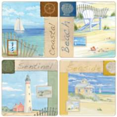 Hindostone Set of 4 Coastal Collage Coasters