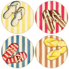 Hindostone Set of 4 Flip Flops II Coasters