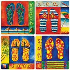 Hindostone Set of 4 Tropical Flip Flops Coasters