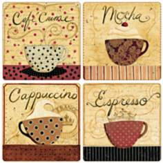 Hindostone Set of 4 French Coffee Collection Coasters