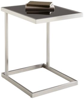 Nicola Stainless Steel and Black Glass TV Table (2K010)