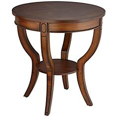 "Americana Cherry 26"" Wide Round End Table with Shelf"