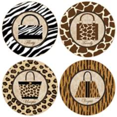 Hindostone Set of 4 Wild Fashion Coasters