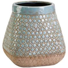 Angie Small Terracotta Blue Flower Pot