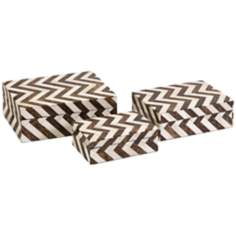 Set of 3 Zig Zag Bone Inlay Boxes