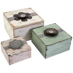 Set of 3 Bennett Flower Top Boxes