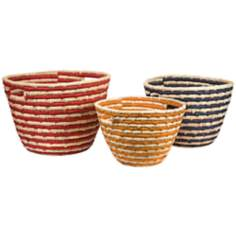 Set of 3 Carmen Sea Grass Multi-Color Catch-All Baskets