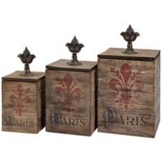 Set of 3 Fleur De Lis Paris Wood Boxes
