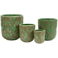 Set of 4 Ceramic Paisley Green Planters