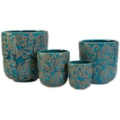 Set of 4 Ceramic Paisley Blue Planters