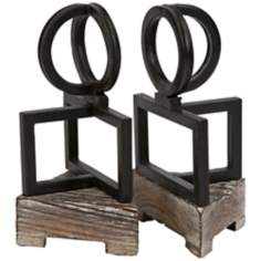 Set of 2 Sculptural Iron and Wood Bookends