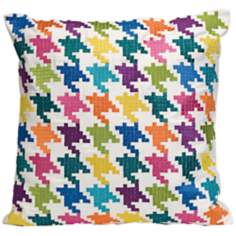 "Abrielle 18"" Square Houndstooth Throw Pillow"