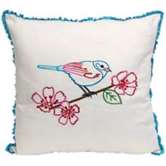 "Clora 18"" Square Embroidered Bird Throw Pillow"