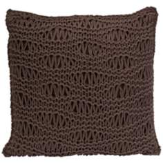 "Satoria 16"" Square Chocolate Crochet Throw Pillow"