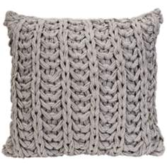 "Hadley 16"" Square Grey Crochet Throw Pillow"