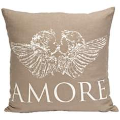 "Amore 18"" Square Angel Tan Throw Pillow"