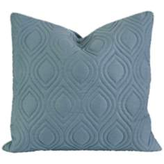 "Kavita 22"" Square Quilted Blue Linen Throw Pillow"