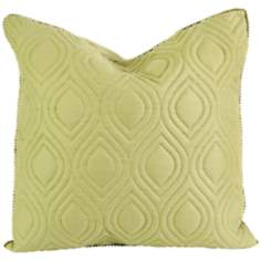 "Kavita 22"" Square Quilted Green Linen Throw Pillow"