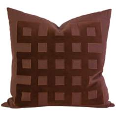 "Kavita 22"" Square Brown Linen Applique Throw Pillow"
