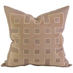 "Kavita 22"" Square Taupe Linen Applique Throw Pillow"
