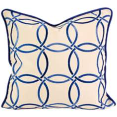"Catina 18"" Square Blue Embroidered Blue Throw Pillow"