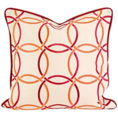 "Catina 18"" Square Embroidered Orange/Red Throw Pillow"