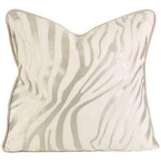 "Bahari 18"" Square Embroidered Taupe Linen Throw Pillow"