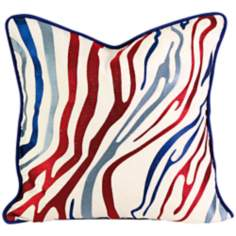 "Bahari 18"" Square Embroidered Multi-Color Throw Pillow"