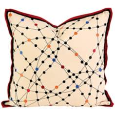"Xander 19"" Square Multi-Color Dot Linen Throw Pillow"