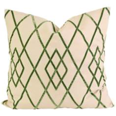 "Ayaka 22"" Square Green Velvet on Linen Throw Pillow"