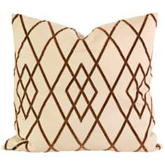 "Ayaka 22"" Square Brown Velvet on Linen Throw Pillow"