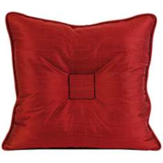 "Paola 19"" Square Tufted Thai Silk Red Throw Pillow"
