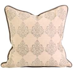 "Adisa 18"" Square Embroidered Taupe Throw Pillow"