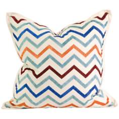 "Zola 18"" Square Multi-Color Embroidered Throw Pillow"
