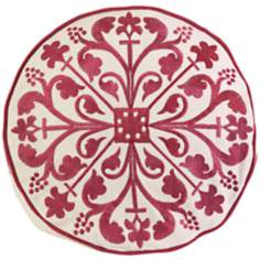 "Nubia 18"" Wide Embroidered Red Round Throw Pillow"