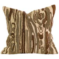 "Lavitra 12"" Square Hand-Beaded Brown Throw Pillow"