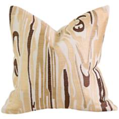 "Idrissa 12"" Square Cream and Brown Throw Pillow"
