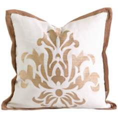 "Kassa 14"" Square Embroidered Damask Throw Pillow"