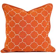 "Delani 18"" Square Embroidered Orange Throw Pillow"