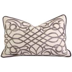 "Etenia 20"" Wide Embroidered Throw Pillow"
