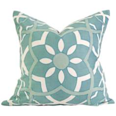 "Lomasi 18"" Square Embroidered Turquoise Throw Pillow"